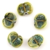 Lamp Bead Seashell 5Pc 22x18mm Lime Green Dichroic
